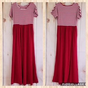 Dresses & Skirts - Red Striped Drop Sleeve Pocketed Maxi Dress L